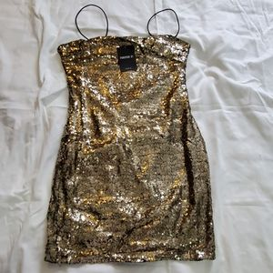 Gold Sequin Party Prom dress